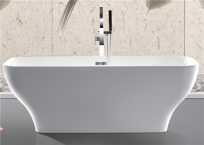 Modern Acrylic Free Standing Bathtub Single / Double Ended Tub Roll Top Thin Edge